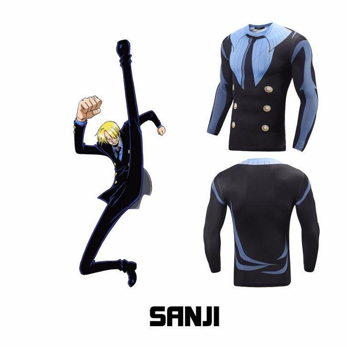 One Piece Sanji Black Suit Long Sleeves Workout Compression 3D Shirt - Konoha Stuff