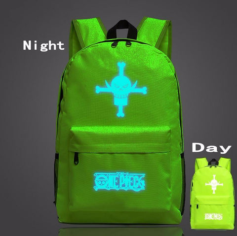 One Piece Symbol Green Forest Luminous School Trendy Design Backpack - Konoha Stuff