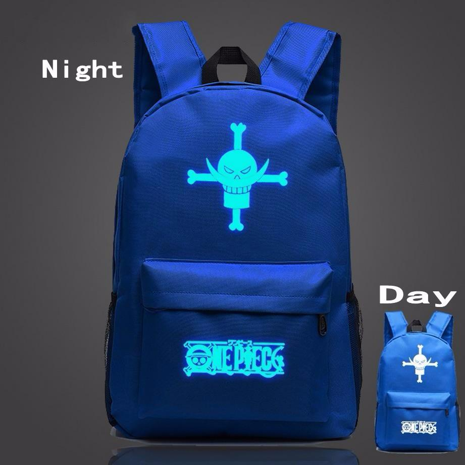 One Piece Symbol Navy Blue Luminous School Trendy Design Backpack - Konoha Stuff