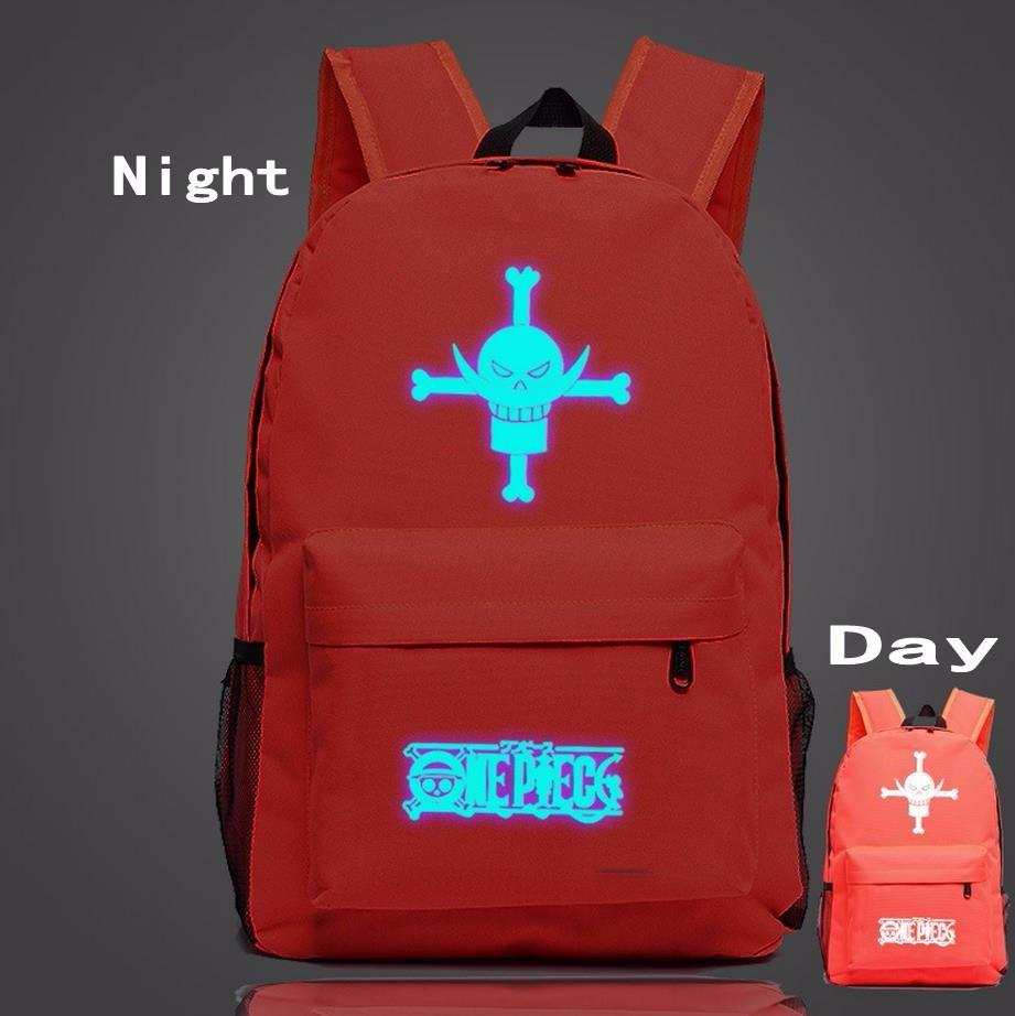 One Piece Symbol Red Fire Glowing Luminous School Trendy Design Backpack - Konoha Stuff