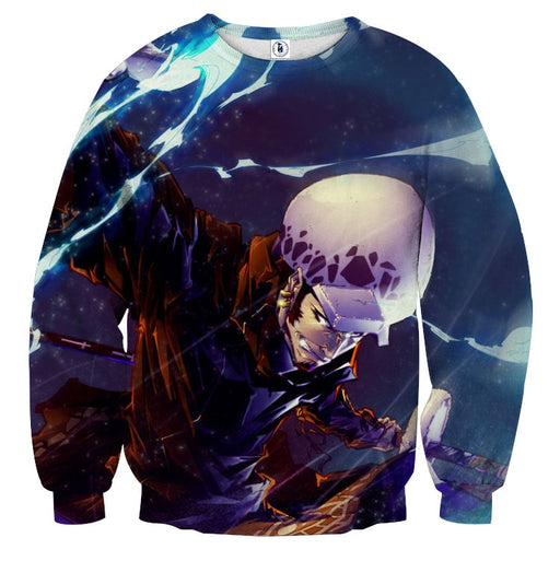 One Piece Trafalgar D Water Law Battle Face Blue Sweatshirt
