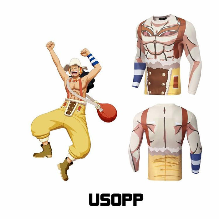 One Piece Usopp Skin Long Sleeves Workout Gym Compression 3D Shirt - Konoha Stuff