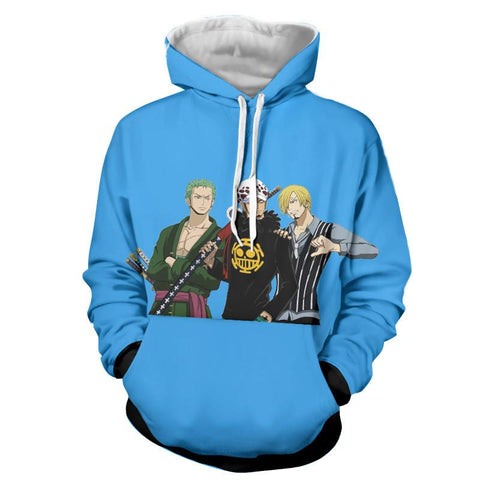 One Piece Zoro Law Sanji Straw Hat Pirate Symbol Anime Hoodie