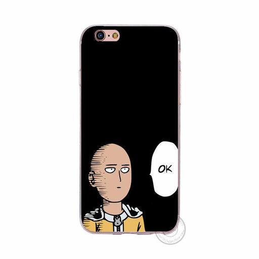 One Punch Man Anime OK Black Soft TPU Case Apple iPhone 5 6 7 S Plus - Konoha Stuff