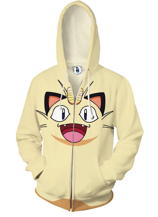 Pokemon Anime Meowth Scratch Cat 3D Cosplay Zip Up Hoodie - Konoha Stuff