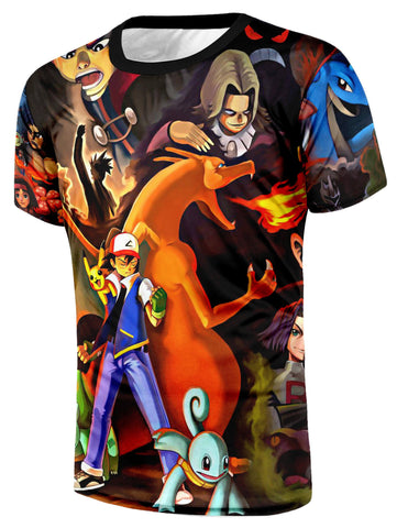 Pokemon Ash Trainer Fight Villains Charizard Squirtle Fan Art Style T-Shirt