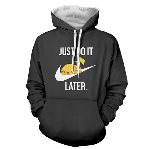 Pokemon Cute Pikachu Sleeping Just Do It Later Black Hoodie