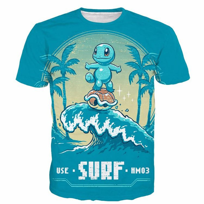 Pokemon Cute Zenigame Squirtle Surf Blue Summer T-Shirt - Konoha Stuff