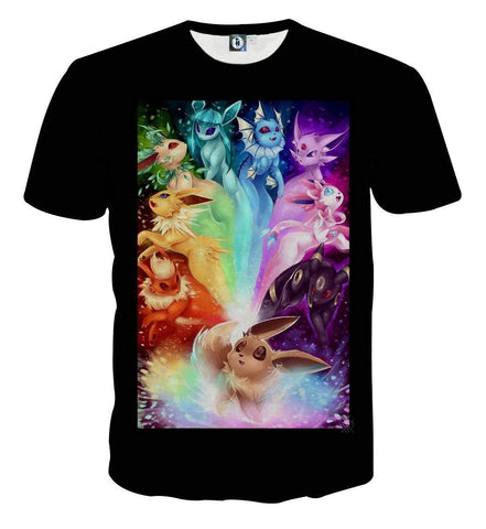 Pokemon Eevee Cute Evolution All Type Colorful Vibrant Streetwear Design T-Shirt