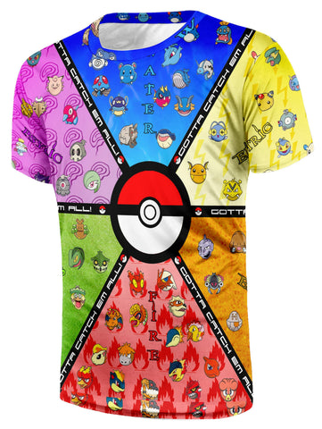 Pokemon Elements Type Pokeball Cool Manga Anime Themed T-Shirt