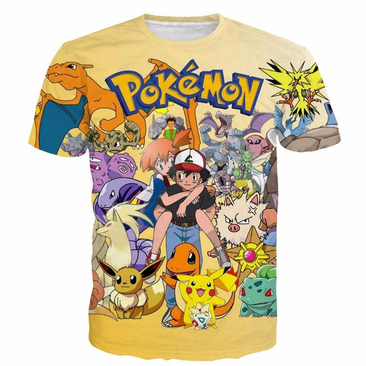 Pokemon GO Ash Carrying Misty Gentle Types of Pokemon Characters  T-shirt - Konoha Stuff - 1