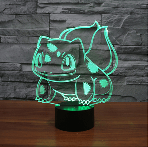 Pokemon GO Bulbasaur Floral Creature Color Changing 3D Illusion Acrylic Lamp