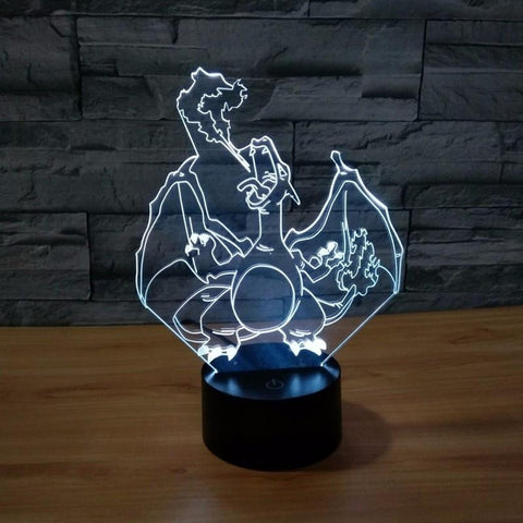 Pokemon GO Charizard Fire Breath Color Changing 3D Illusion Acrylic Lamp
