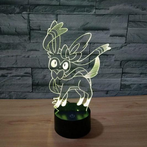 Pokemon GO Eevee Evolution Sylveon Color Changing 3D Illusion Acrylic Lamp