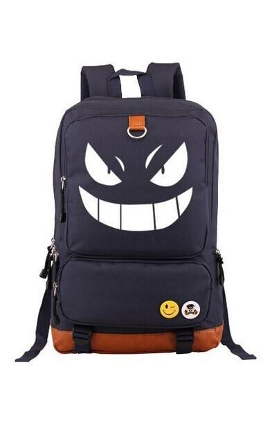 Pokemon GO Gengar Smile Glowing Dark School PU Shoulder Laptop Design Backpack - Konoha Stuff - 1