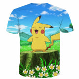 Pokemon GO Pikachu Singing Flowers Blue Sky Windy Field Cute T-shirt - Konoha Stuff - 2