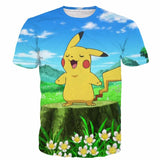 Pokemon GO Pikachu Singing Flowers Blue Sky Windy Field Cute T-shirt - Konoha Stuff - 1
