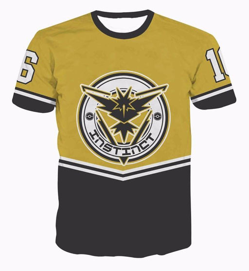 Pokemon GO Team Instinct Emblem 16 Baseball Jersey Yellow Characters  T-shirt - Konoha Stuff - 1