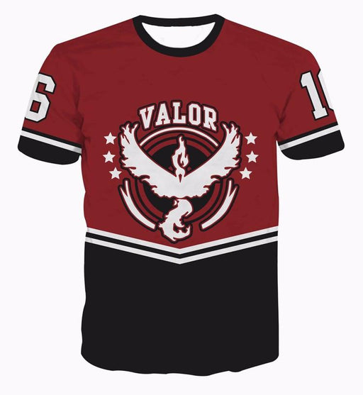 Pokemon GO Team Valor Emblem 16 Baseball Jersey Red Characters  T-shirt - Konoha Stuff - 1