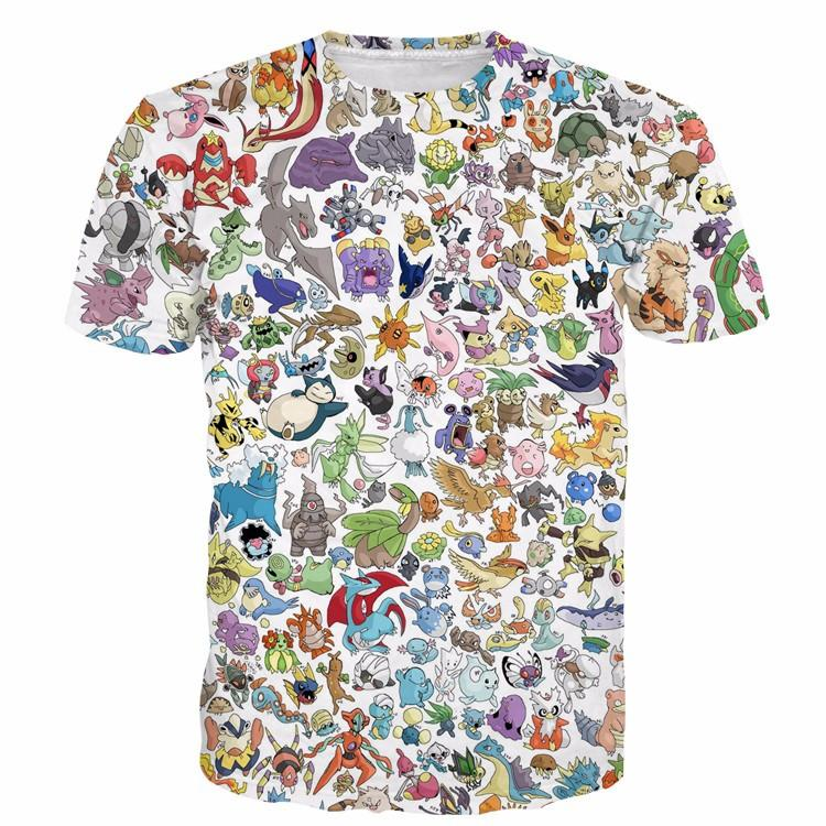 Pokemon Go Characters Of All Types Anime Cute Prints Style 3D T-shirt - Konoha Stuff - 1