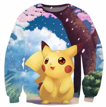 Pokemon Go Cute Pikachu Cherry Blossom Nature Lovely 3D Sweatshirt - Konoha Stuff