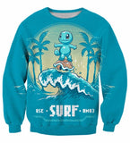 Pokemon Go Cute Zenigame Squirtle Use Surf HM03 Blue 3D Sweatshirt - Konoha Stuff
