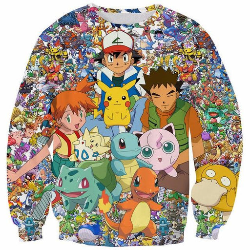 Pokemon Go Game Characters Heroes Cute 3D Full Print Sweatshirt - Konoha Stuff