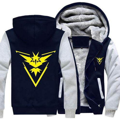 Pokemon Go Game Team Instinct Yellow Symbol Zipper Hooded Jacket - Konoha Stuff