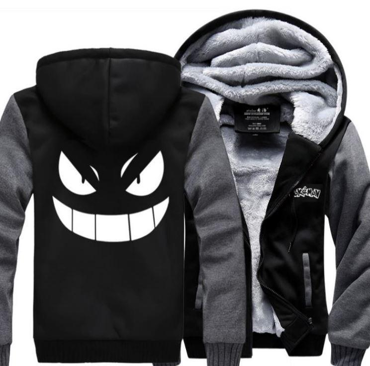 Pokemon Go Gengar Monster Shadow Winter Gray Black Hooded Jacket - Konoha Stuff