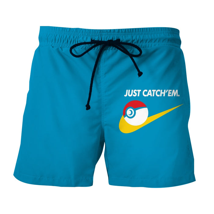 Pokemon Go Just Catch Them Parody Statement Blue Boardshorts
