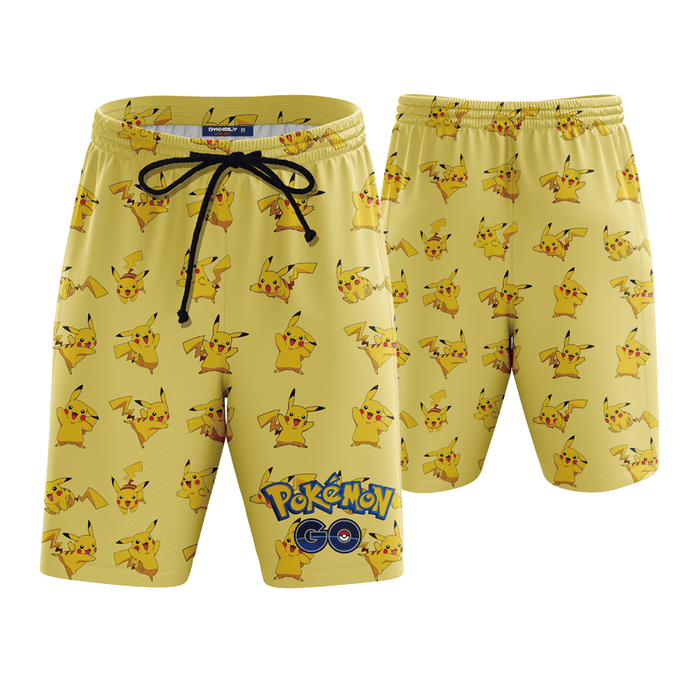Pokemon Go Pikachu 3D Yellow Boardshorts Swim Trunks