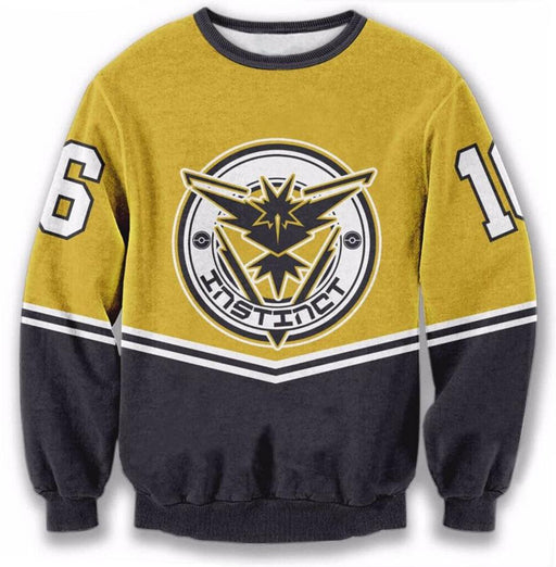Pokemon Go Team Instinct Symbol 16 Streetwear Yellow Sweatshirt - Konoha Stuff - 1