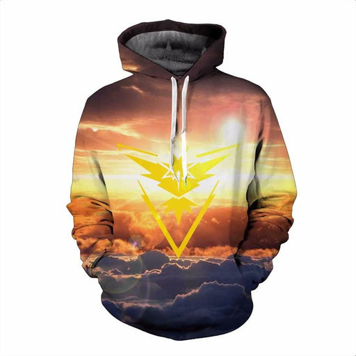 Pokemon Go Team Instinct Symbol Fantastic Cloudy Sunrise Hippie Hoodie - Konoha Stuff