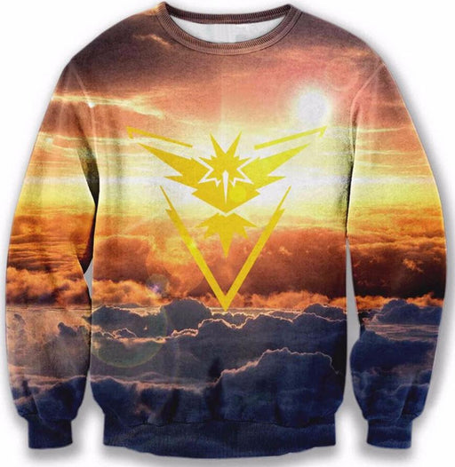 Pokemon Go Team Instinct Symbol Fantastic Cloudy Sunrise Hippie Sweatshirt - Konoha Stuff - 1