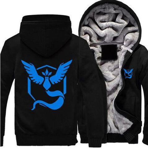 Pokemon Go Team Mystic Blue Bird Symbol Anime Cool Hooded Jacket - Konoha Stuff