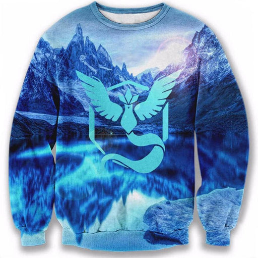 Pokemon Go Team Mystic Symbol North Pole Lake Arctic Ocean Sweatshirt - Konoha Stuff - 1