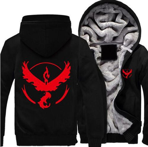Pokemon Go Team Valor Red Symbol Legendary Bird Moltres Hooded Jacket - Konoha Stuff