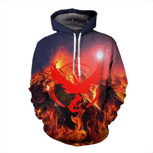 Pokemon Go Team Valor Symbol Volcanic Eruption Hipster Hoodie - Konoha Stuff