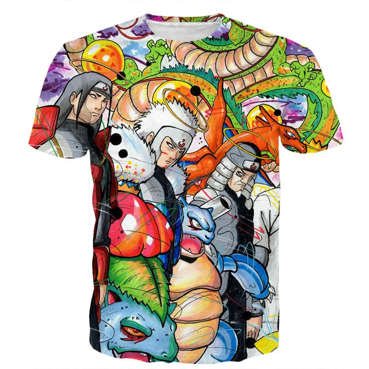 Pokemon Hokage Generation Shenlong Ultimate Battle Damage T-shirt - Konoha Stuff - 1