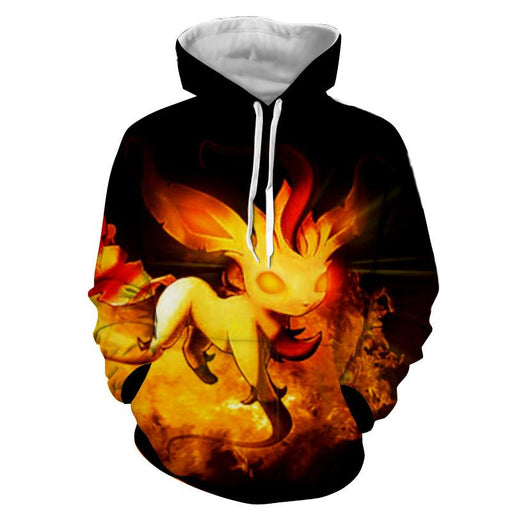 Pokemon Mysterious Transformation Flaming Hip Hop Hoodie