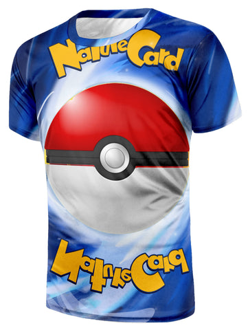 Pokemon Nature Card Slogan Pokeball Vibrant Color Anime Theme T-Shirt