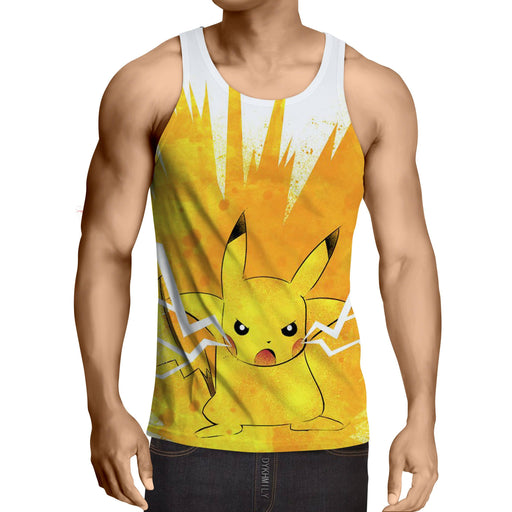 Pokemon Pikachu Cute Electrical Shock Simple Style Sport Crossfit Tank Top