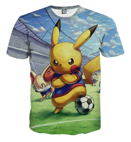 Pokemon Pikachu Cute Soccer Player Confident Dope Style 3D T-Shirt