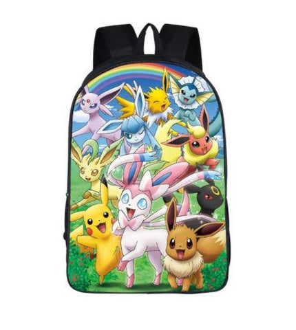 Pokemon Pikachu Eevee All Evolution Cute School Bag Backpack