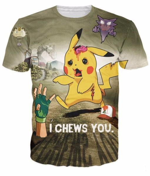 502482d0 Pokemon Pikachu Zombie Ash Haunter Meowth I Chews You Creepy T-shirt -  Konoha Stuff