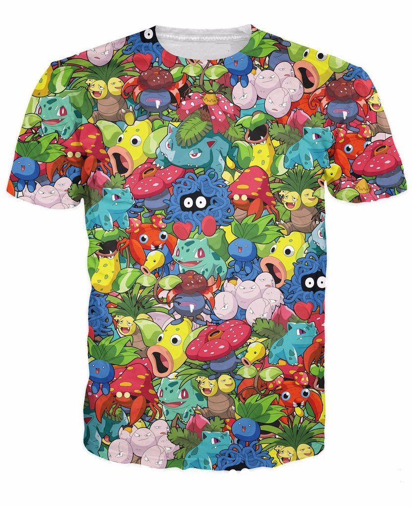 Pokemon Plant Go Catch Them All Colorful Funny Cute Trendy Style  T-shirt - Konoha Stuff