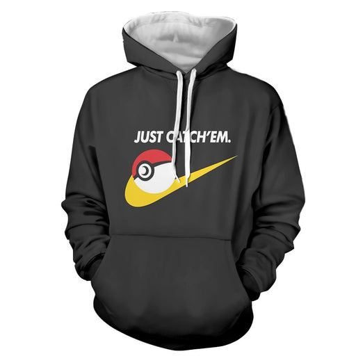 Pokemon Pokeball Just Catch 'Em All Nike Design Black Hoodie
