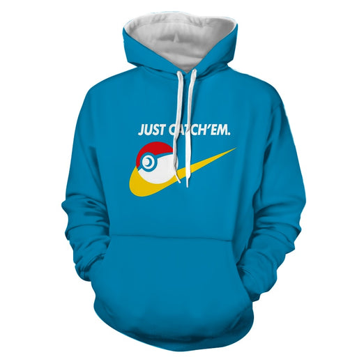 Pokemon Pokeball Just Catch 'Em All Nike Design Blue Hoodie