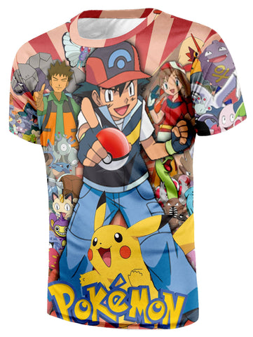 Pokemon Trainer Ash Friends Pikachu Logo Streetwear Cool Fashion T-Shirt