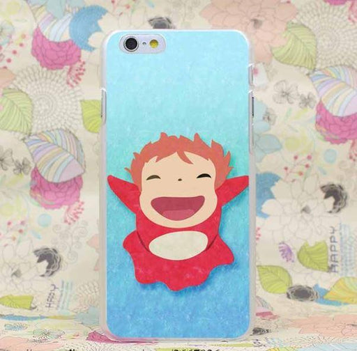 Ponyo Cute Laugh Happy Vibrant Anime Ghibli Design iPhone 4 5 6 7 Plus Case